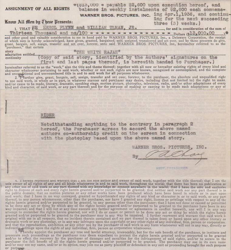 White Rajah Contract Warners