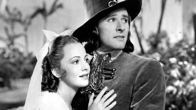 Actors Olivia De Havilland and Tasmanian-born Errol Flynn in 1935 film Captain Blood. Pic