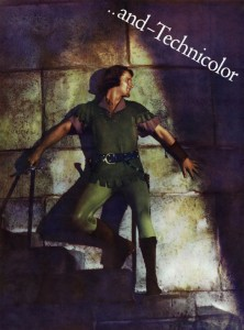 Errol Flynn as he appears in THE ADVENTURES OF ROBIN HOOD, 1938. This image is from an advertisement for the film that appeared in the trade papers.