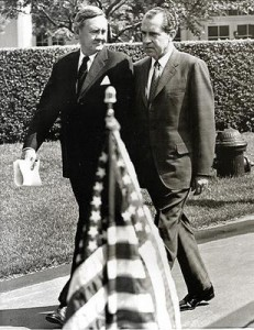 President Nixon and Prime Minister John Gorton during an official welcoming ceremony at the White House in May 1969.