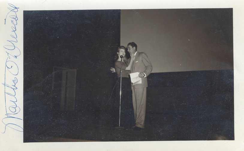 Martha O'Driscoll & Errol Flynn (circa 1943?) entertain in Alaska during a USO Tour