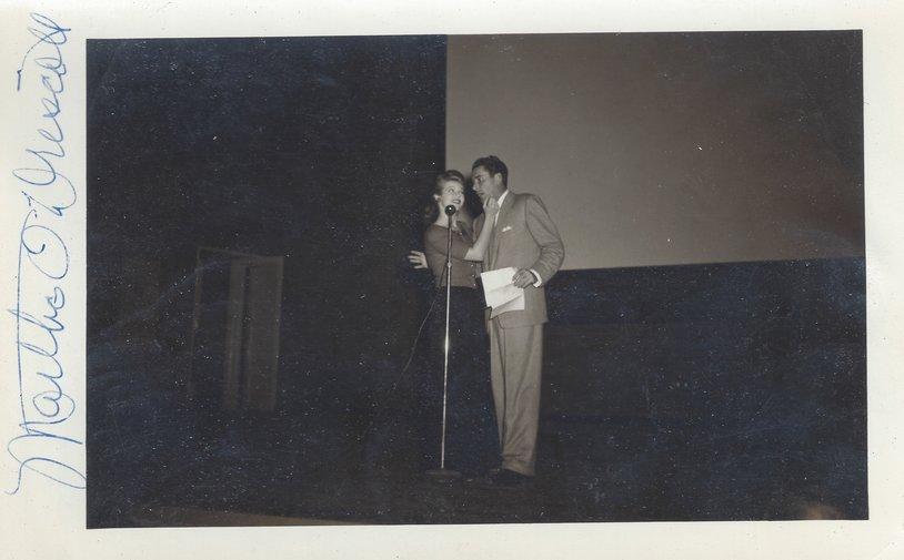 Martha O'Driscoll & Errol Flynn (circa 1943?) entertain in Alaska during a USO Tour